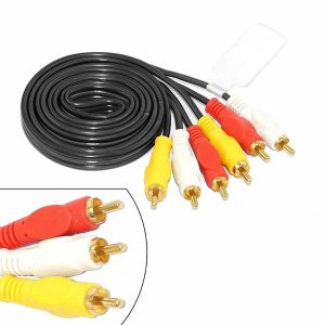 3 Rca Male To Male Composite Audio Video Av Cable Tv Lcd Led DTH