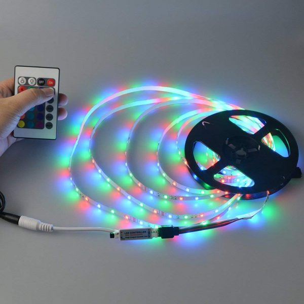 Waterproof RGB Remote Control Color Changing LED Strip Light, 5 Meter