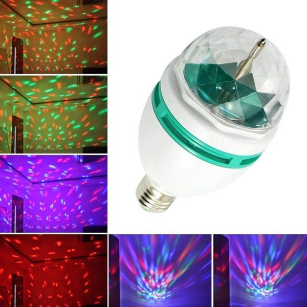 Diwali Decoration Plastic DJ Rotating LED Stage Light Crystal Bulb (White)