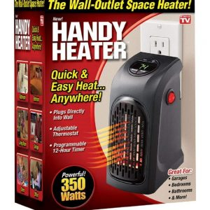 Plastic Wall-Outlet Electric Handy Heater (400W, Medium, Black)