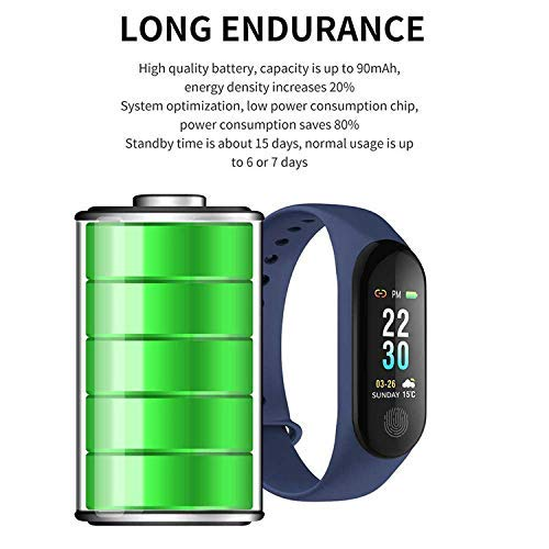 Intelligence health bracelet M3 Smart Fitness Band with Heart Rate Sensor/Pedometer/Sleep Monitoring Functions Compatible with Android